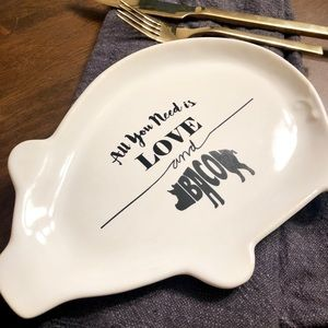 Small White Pig Love & Bacon Serving Dish